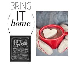 """""""Bring It Home: Hot Cocoa Chalkboard Art Print"""" by polyvore-editorial ❤ liked on Polyvore featuring interior, interiors, interior design, home, home decor, interior decorating, Lily & Val and bringithome"""