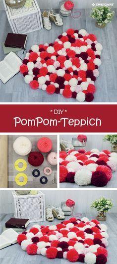 Schönen PomPom Teppich selber machen mit Schritt-für-Schritt-Anleitung  DIY    34efc457d1e