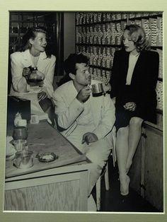 Rita Hayworth, Orson Welles Marlene Dietrich share a coffee break