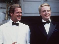 "Roger Moore and Christopher Walken in ""A View To A Kill"" Mid Atlantic Accent, James Bond Style, Upper Crust, Dramatic Arts, Classically Trained, James Bond Movies, Roger Moore, Most Beautiful Man, Behind The Scenes"