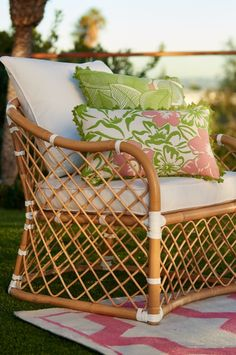 Recreate the look of a blissful tropical retreat with our Bay Breeze seating. Each piece is handcrafted from natural bent rattan that is neatly handwoven. | Frontgate: Live Beautifully Outdoors