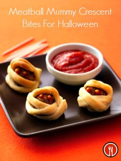These meatball mummy bites are the perfect kid-size appetizer. Great to serve at your next Halloween party! http://www.thedailymeal.com/meatball-mummy-crescent-bites-halloween