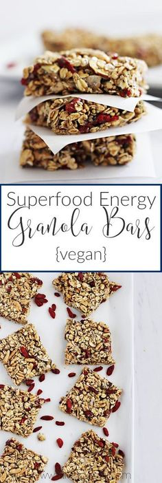 Superfood Energy Granola Bars for a quick and healthy snack! || http://fitlivingeats.com