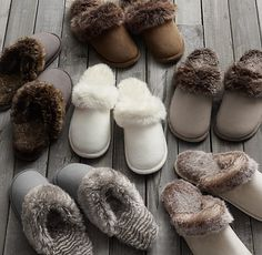 Luxe Faux Fur Scuff Slippers....LOVE (size l/xl in any color other than the chinchilla and arctic fox)