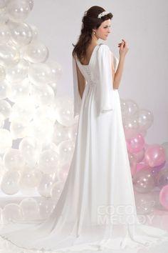Perfect Sheath-Column V-Neck Court Train Chiffon Wedding Dress CWLT130A4#Cocomelody#weddingdress#bridalgown#