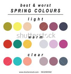 Stock vector seasonal color analysis palette for spring type of female appearance. Best and worst colors for light, warm and clear spring