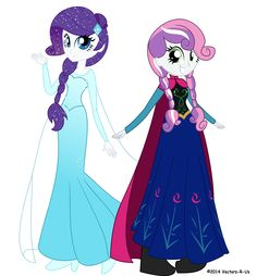Frozen x Mlp: Rarity=Elsa and SweetieBell=Anna Equestria Girls, Sweetie Belle, My Little Pony Pictures, Little Poney, Arte Disney, Animation, My Little Pony Friendship, Twilight Sparkle, Rainbow Dash