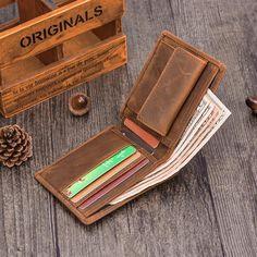 Handmade Leather Mens Cool Slim Leather Wallet Card Wallet Holders Men – iChainWallets
