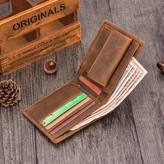 3349015e8d3f Handmade Leather Mens Cool Slim Leather Wallet Card Wallet Holders Men –  iChainWallets Slim Leather Wallet