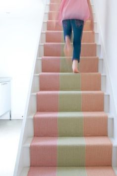 Dress up your steps with bold colour, cool prints and one-of-a-kind designs – you'll never look at stairs the same way again! Here are six stair runner ideas. Iron Stair Railing, Stair Handrail, Banisters, Stair Rods, Hall Carpet, Carpet Stairs, Staircase Runner, Entryway Stairs, Stair Makeover