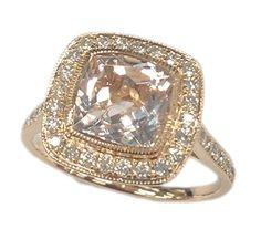 Cushion 8mm Morganite Diamond Engagement Ring in 14K Rose Gold,Milgrain Wedding Promise Ring