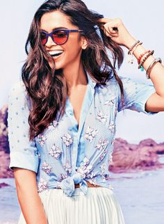 Deepika Padukone in a Vogue eyewear ad.