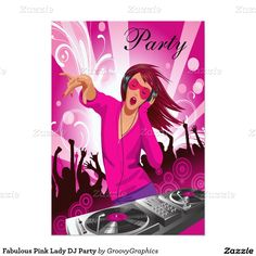 Fabulous Pink Lady DJ Party 5x7 Paper Invitation Card
