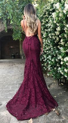 MAROON MYTHICAL DRESS BY STUDIO MINC #FORMAL #PROM #BACKLESS #LACE #DRESS