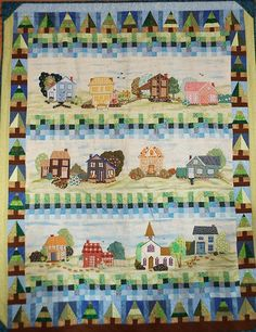 Americana Sampler by Margaret Louise Burtner Moats. Best Use of Embellishments: 2017 Mid Atlantic Quilt Festival. Sewing Crafts, Sewing Projects, Row By Row, House Quilts, Landscape Quilts, Quilt Art, Quilt Festival, Quilting Patterns, Textile Artists