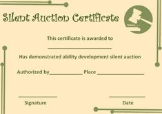 silent auction certificate template certificate templates silent auction