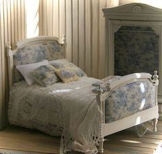 Shabby Chic French Provincial Double Bed for by ArgusMinis on Etsy, $125.00