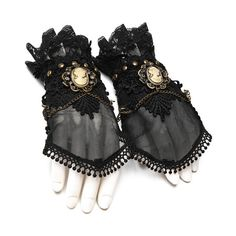 Lyra Black Lace Gothic Gloves by Punk Rave ($34) ❤ liked on Polyvore featuring accessories, gloves, goth gloves, lace gloves, punk gloves, punk rock gloves and gothic gloves