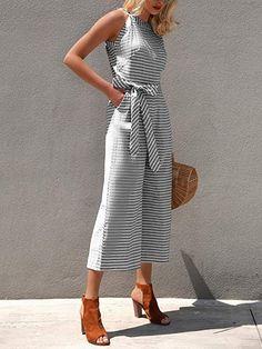 f3914162692 Amazon.com  PRETTYGARDEN 2019 Women s Striped Sleeveless Waist Belted  Zipper Back Wide Leg Loose Jumpsuit Romper with Pockets  Clothing