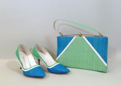 Teal Me Away Heels and Bag / Vintage 1960s Heels and Handbag Set / 60s Matching Shoes and Purse on Etsy, $64.00
