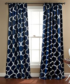 Navy Geo Blackout Window Curtain