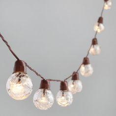 Clear Crackle Glass Solar LED 30 Bulb String Lights - v1