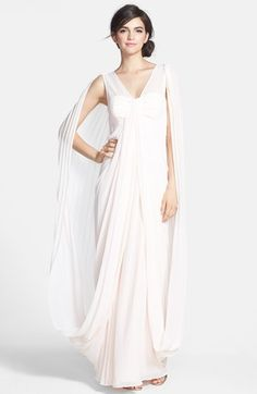 Free shipping and returns on Ted Baker London 'Lyonele' Cape Back Draped Chiffon Maxi Dress at Nordstrom.com. Generously cut chiffon, lavish draping and tight accordion back pleats render an exquisite Grecian-inspired dress that envelops the figure in a blushing pink hue and majestic cape-like silhouette.