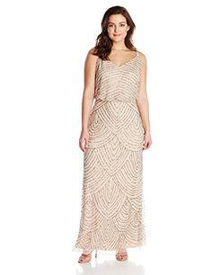 Adrianna Papell Women's Plus-Size Sleeveless Blouson Beaded Gown, Taupe/Pink, http://www.amazon.com/dp/B00Q64AWZ2/ref=cm_sw_r_pi_dp_PPm8ub14FZF9J