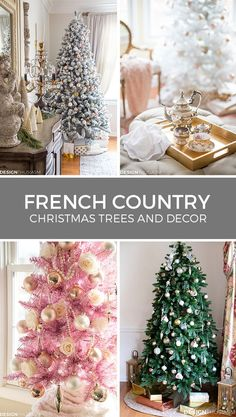 Here are 20 beautiful ideas for decorating your holiday home in French Country style, using Christmas tree decorations and other holiday decor. Slim Christmas Tree, Country Christmas Trees, French Country Christmas, Christmas Home, White Christmas, Christmas Mantles, Christmas Villages, Country French, Victorian Christmas
