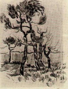 """""""Pine Trees in Front of the Wall of the Asylum 4, 1889 Vincent van Gogh """""""
