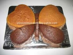 use heart pans to make butterfly cakes