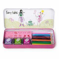 Finger Printing Art Set - Fairy Tales Edition by NPW. $12.06. Attractive Tin Storage box. 3 Colored Ink Pads. 10 Rubber Stamps. 10 Coloring Pencils. Fun art at your fingertips! Your fingerprints are unique so why not turn them into colourful works of art? Turn your fingerprints into colourful fairy tale characters and add faces and features with rubber stamps. Create personalised greetings cards or tiny work of art. Simply press your finger on the inkpad, print your fin...