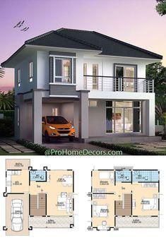 Modern House Floor Plans, Home Design Floor Plans, Bungalow House Plans, Bungalow House Design, Small House Plans, House Layout Design, 2 Storey House Design, Simple House Design, House Layouts