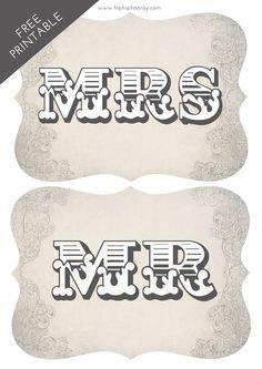 Free Printable Mr & Mrs Signs | Hip Hip Hooray