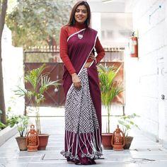 Sarees - Rustorange Sari Blouse Designs, Saree Blouse Patterns, Indian Attire, Indian Wear, Simple Sarees, Indian Fashion, Women's Fashion, Kurti Designs Party Wear, Saree Models