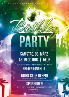 Birthday Party Flyer Vorlage, Design inkl. Druck, P0003A | Flyer | Designvorlagen | Despri