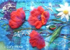 poppies on turquoise with purple