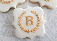Elegant White and Gold Laurel Wreath Monogram Cookies - One Dozen Decorated Cookies