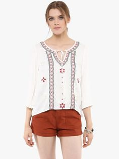 Embroidered Peasant Top with sleeves and intricate folkloric embroidery and tie up detail. My Dashboard, Peasant Tops, Online Fashion Stores, Nice Tops, Loom, Girl Outfits, Tops Online, Blouse, Fabric