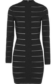 Balmain Mesh-trimmed stretch-knit mini dress | NET-A-PORTER
