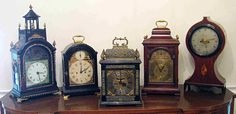 Old English table clocks- I grew up in a house that was filled with antique clocks of all kinds. I'm certain this is why I dress my home with clocks as well. Old Clocks, Antique Clocks, Mantel Clocks, Vintage Clocks, Alarm Clocks, Daddy Come Home, Tick Tock Clock, Time Stood Still, Grandfather Clock