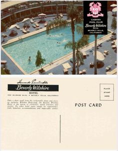 What a delightful vintage Beverly Wilshire postcard of the old Cabana Pool Club!