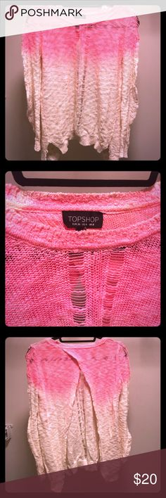 Ombré sweater Super cute top shop ombré sweater. Open back and distressed holes! Topshop Sweaters Crew & Scoop Necks