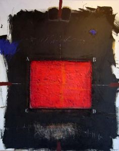 """Skot Foreman Gallery James  Coignard """"Rouge Juxtapose""""  1988 Mixed media on canvas    162 x 130 in  411 x 330 cm"""