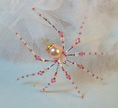 Pink Pearl and Crystal Christmas spider Ornament by Thespiderlady, $9.00