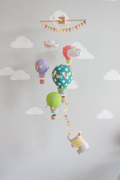 Bright and Colorful Baby Mobile, Hot Air Balloons, Elephant Mobile, Nursery Decor, Travel Theme, i149