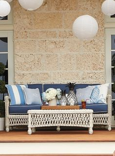 Our Hampton Seating Collection has a relaxed, southern attitude, intricately handwoven in weathered ivory resin wicker.