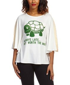 Another great find on #zulily! Off-White Turtle 'Always Late' Cape-Sleeve Tee #zulilyfinds