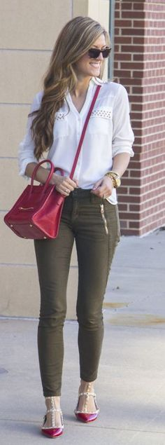 Olive, Red And White Outfit Idea                                                                             Source