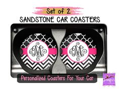 Chevron Black White Pink Personalized Coaster Set - Plaid Patterns Custom Car Coasters, Sweet 16 Gift, New Car Gift, Stocking Stuffers by JenniferCraftCorner on Etsy Monogram Coasters, Personalized Coasters, Custom Coasters, Personalized Gifts, Gifts For Boss, Gifts For Coworkers, Boss Birthday, Birthday Gifts, Mother Birthday